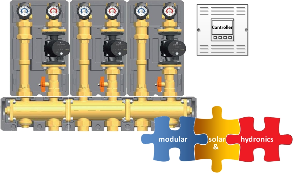 "3-ZONE HIGH TEMPERATURE <br/>  1-1/4"" NPT MODULAR HYDRONIC SYSTEM"
